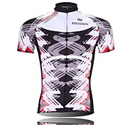 XINTOWN Men 's Tornado Breathable Polyester Short Sleeve Cycling Jersey -White+Black