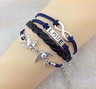 Vintage Peace Dove 18cm Unisex  Leather Wrap Bracelet(1 Pc)