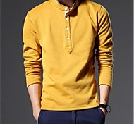 Men's New Cotton and Vashmere Thickened Korean Cultivating Long Sleeved T-shirt