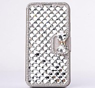 Fashion Crystal Diamond Leather Camellia Full Body Case with Stand for SAMSUNG GALAXY S5 I9600
