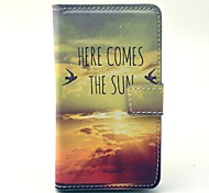 Sun Comming Here View Pattern PU Leather Cover Full Body Case with Card Slot for Nokia Lumia N520