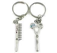(A pair)Scissors and  Comb Interesting High-grade Stainless Steel Keychain Symbol of Love