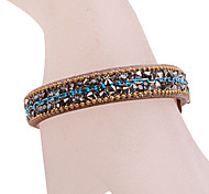 European Style Blue Rhinestone Leather Bracelet