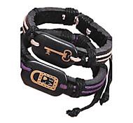 Men's Key Lock Multilayer Brown Leather Wrap Bracelet(A Pair)