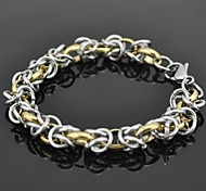 Toonykelly® Vintage 21CM Men's Stainless Steel Bracelet(Silver and Gold)(1PC)