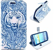 Grey Tattoo Coming Tiger Pattern PU Leather Case Cover with Stand for Samsung Galaxy S3 I9300