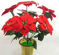 Silk Cloth Simulation Poinsettia 7 Headdress Flower