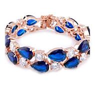 Fashion Zircon Champagne Gold Bracelets(Ocean Blue&Dark Green&Rose&Blue&Fuchsia)(1 Pc)