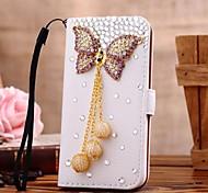 diamant parel strik bloemen pu leer full body case met standaard en de kaartgleuf voor Samsung Galaxy Note 2 n7100