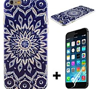 Blue Sun Flowers Pattern Hard with Screen Protector Cover for iPhone 6
