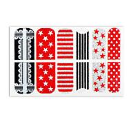 2x12PCS Punk Black&White&Red Star Dot Glitter Nail Stickers