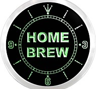 Home Brew Beer Bar Pub Neon Sign LED Wall Clock