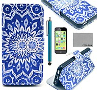 COCO FUN® Blue Peacock Pattern PU Leather Full Body Case with Screen Protector for iPhone 5C