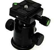 """TETOTO T3 Professional Aluminum Alloy 3/8"""" Ball Head with Scale Level&Quick-release Plate - Black"""