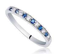Classic Women's 2-tone Mix Sapphire Blue and Clear CZ 925 Sterling Silver Band Ring