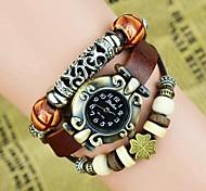 Women's Fashion Revet Leaf Leather Bracelet Watch