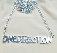 Lureme®Fashion Silver Alloy One Direction  Pendant Necklace