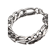 Width 1.1cm,Silver Plated Royal Cheap Chunky Thick Figaro Chain Bracelet