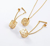 Fashion Titanium Steel Hollow Out Rose CZ Diamond Inside (Necklace&Earrings) Jewelry Set