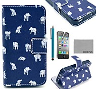 COCO FUN® Blue Elephant PU Leather Full Body Case with Screen Protector, Stand and Stylus for iPhone 4/4S