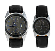 Fashionable Lover's Round Dial Waterproof Leather Watchband With  Pointer Wrist Watches Black(1Pc)