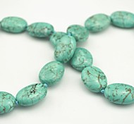 Toonykelly 20MM*15MM Cute Oval  Natural Green Turquoise Stone DIY Beads 10Pc/Bag