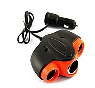 3-in-1 USB Car Cigarette Lighter Socket Adapter (12V)