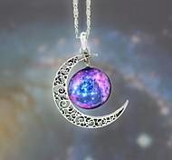 tempo de lua estrela galáxia colar de pingente de pedra preciosa das mulheres