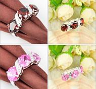 Garnet Pink Topaz Gemstone Silver Ring 1PC