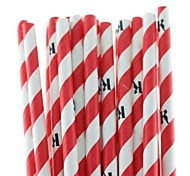 """Eco-Friendly Paper Straws with Letter """"R"""" for Party (25 PCS)"""