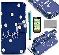 COCO FUN® Daisy In Blue Pattern PU Leather Full Body Case with Screen Protector for iPhone 5C