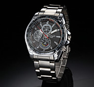 Men's Racing Style Silver Alloy Quartz Wrist Watch (Assorted Colors)