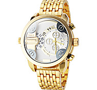 Men's Dual Time Zones Gold Steel Band Quartz Wrist Watch (Assorted Colors)