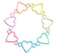 Multicolor Heart Connector for Bracelet (10 PCS One Package)