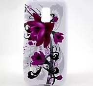 patrón de flores púrpura TPU caso suave para mini samsung galaxy s5