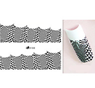 1PCS French Fashion Simple Black Star Lace Grid Nail Art Stickers