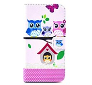 Owl's Home Pattern PU  Leather Case with Card Slot and Stand for Samsung Galaxy S5mini