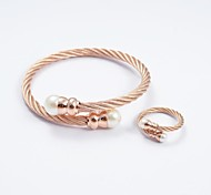 Fashion Rose Gold Titanium Steel Pearl Bracelet Tip Bangles and Rings Jewelry Sets
