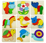 Wooden Colourful Cartoon Animal Puzzle Children Educational Toys(Random Color)