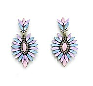Stylish Pink and Blue Resin Flower Copper Plated Earring (1 Pair)
