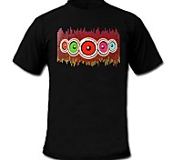 LED T-shirts Sound activated LED lights Cotton Novelty 2 AAA Batteries