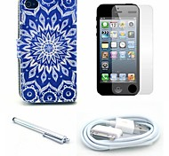 Sunflower Pattern PU Leather Case and Screen Protector and Stylus and Cable for iPhone 4/4S