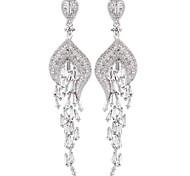 New Fashion Incredible Design Vintage European CZ Long Chandelier Big Wedding Earrings For Women