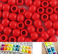 Approx 100PCS 8x9MM Red Pearlescent Pony Beads For Rainbow Loom Bracelet DIY Accessories
