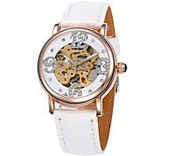 Frauen Hohlwahlgoldgehäuse Lederband automatische mechanische Armbanduhr (farbig sortiert)