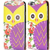 Yellow Eyes Owl Fashion Vertical Style Magnetic Flip PC+PU Leather Case for iPhone 6