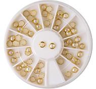 60PCS Beige Pearl Metal Lipping Nail Art Decorations
