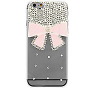 Transparent Crystal Surface Diamond Pink Bowknot PC Back Cover for iPhone 6