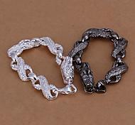 Lureme®Men's Jewelry Set Plated 925 Silver Black and White Small White Dragon  Bracelet