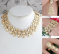 Big&Small Wafer Combination Alloy Sets Necklace+Bracelet+Earrings+Ring Gold (1Set)